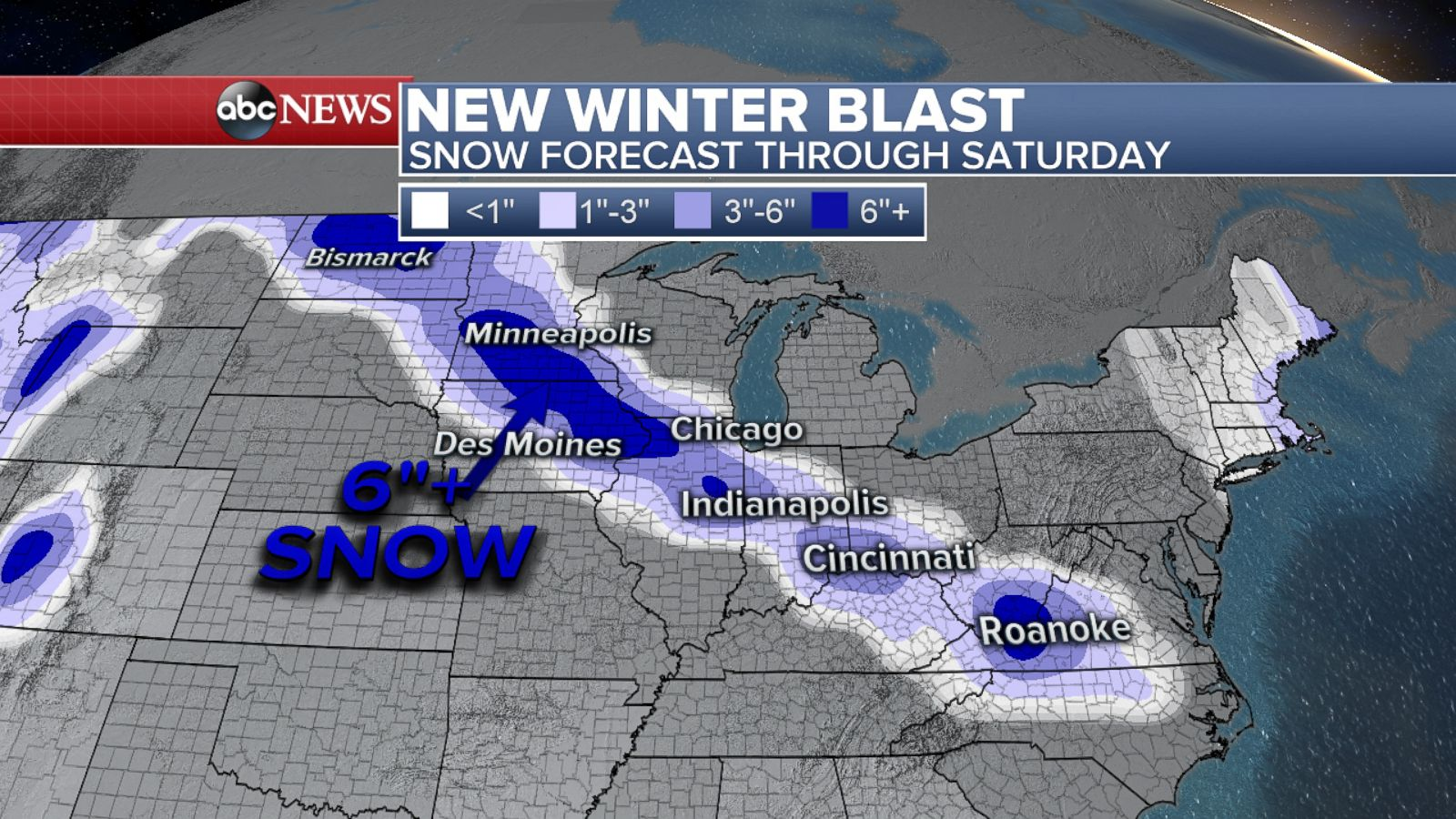 PHOTO: An ABC News weather map shows a snow forecast across a swathe ...