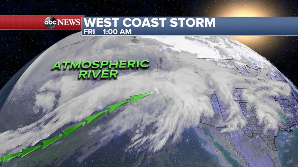 PHOTO: An Atmospheric River is streaming moisture into California bringing a flood threat in the weekend.