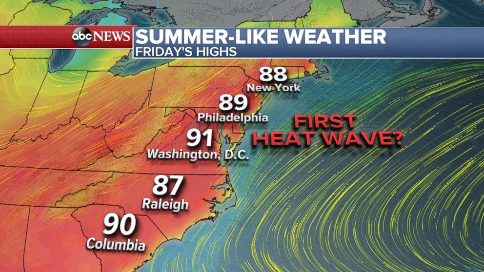 With the third day of 90s in the Northeast possible on Friday, it could be the first heat wave of the year.