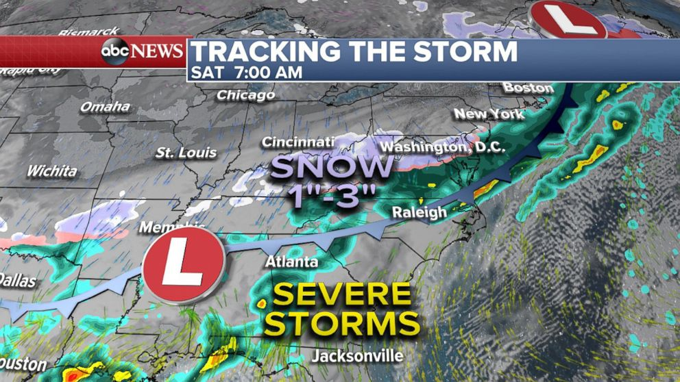PHOTO: Snow and storms move east on Saturday morning, April 7, 2018.