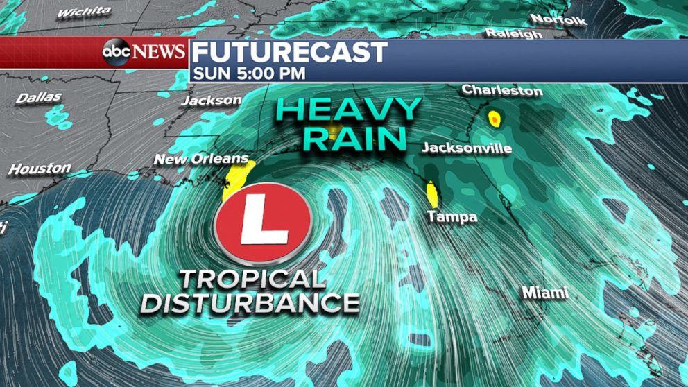 PHOTO: Heavy rain will overspread the Gulf Coast and Florida by Sunday.