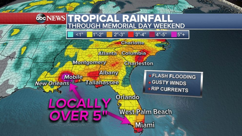 PHOTO: Parts of the Southeast could get over half a foot on rain causing flash flooding.