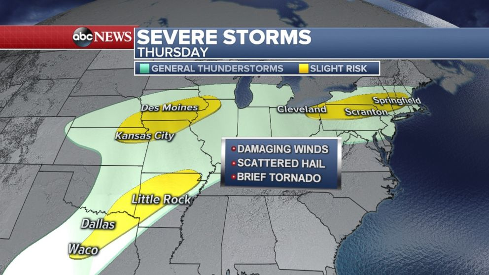 Three pockets of severe storms are possible today from Texas to the Northeast.