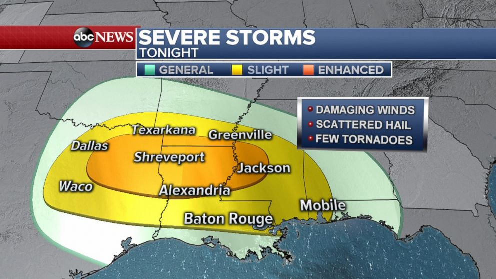PHOTO: Severe storms are possible in parts of the South from Texas to Alabama on Friday, April 6, 2018.
