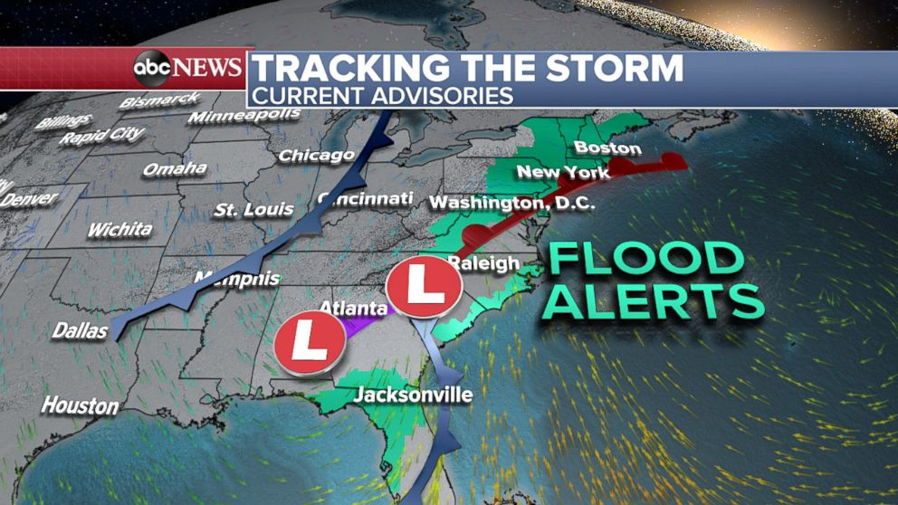 Weather Map East Coast Flood watches issued for entire East Coast as heavy rain moves in