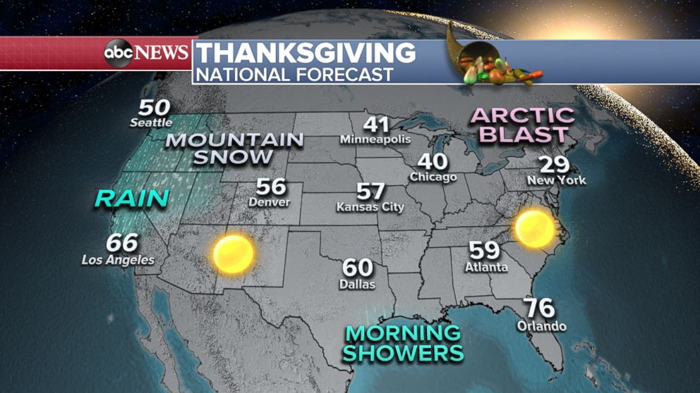 PHOTO: Thanksgiving weather map; national forecast.