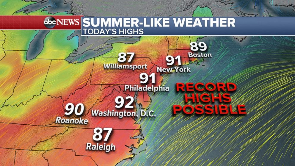 More record heat is expected from D.C. to New York on Thursday.
