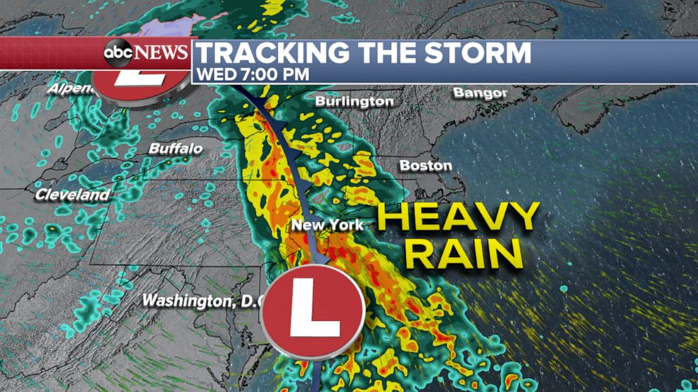 PHOTO: Tracking the storm through Wednesday night weather map.