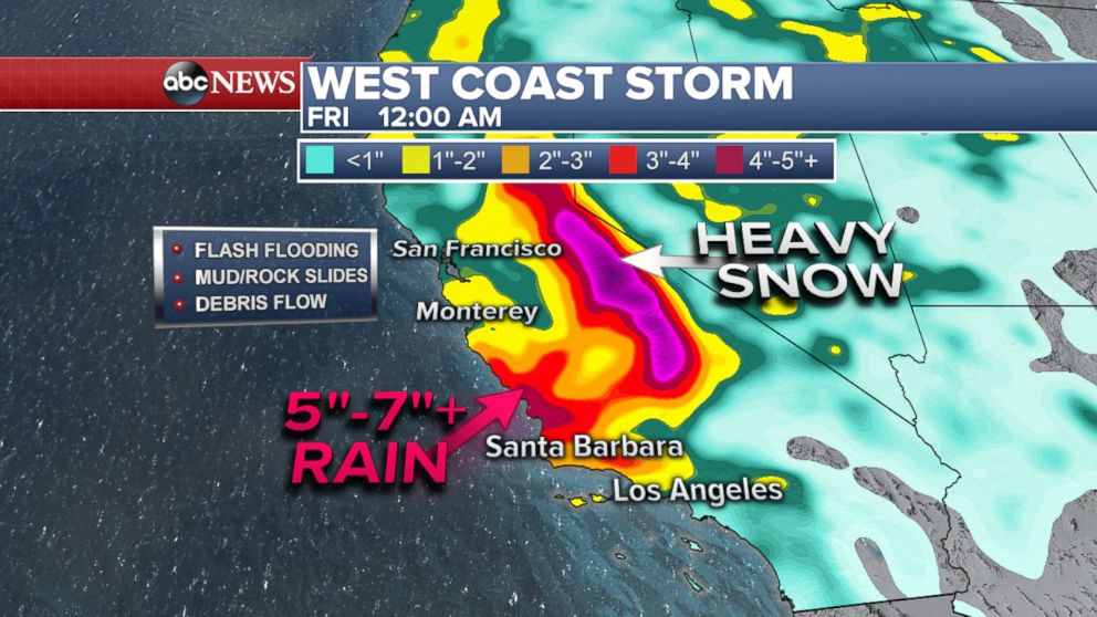 PHOTO: ABC News meteorologists predict that over 5-inches of rain is possible in areas of coastal Southern California through Thursday night, March 22, 2018.