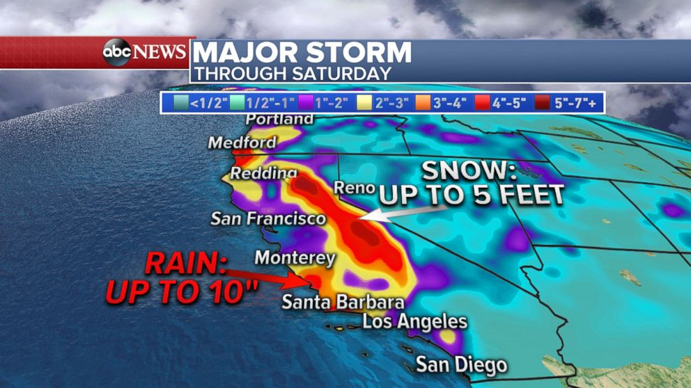 PHOTO: An ABC News weather map shows a major storm affecting the Western states through Saturday, March 24, 2018.