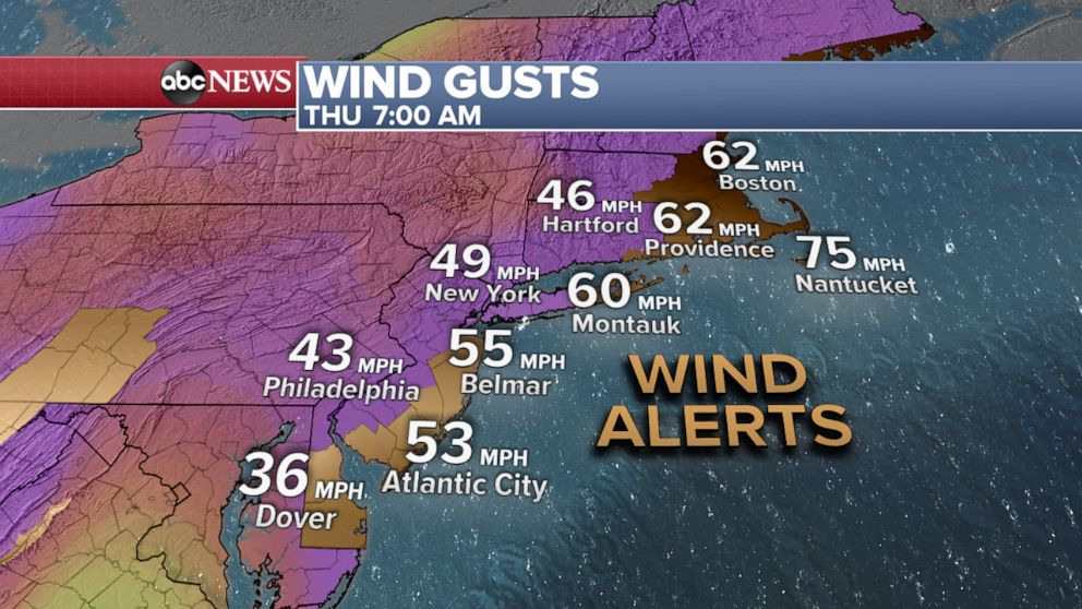 PHOTO: Wind gusts weather map.