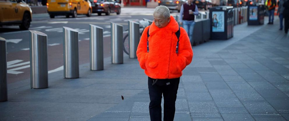 PHOTO: A person walks through Times Square in a winter coat during a cold morning in New York, Nov. 1, 2019.
