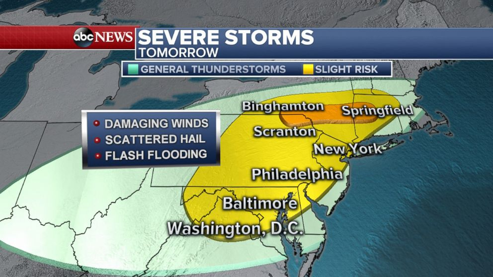 PHOTO: Americans in the Northeast, including Washington, D.C., Philadelphia, and New York could see severe storms on May 15, 2018.
