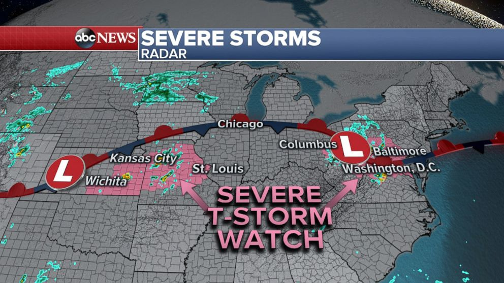 PHOTO: Severe Thunderstorm Watches are in effect today from Wichita, Kansas to Washington, D.C.
