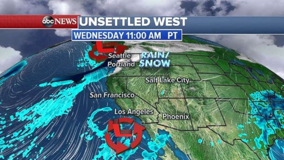 A storm system will continue to spin in the Southwest through Wednesday morning.