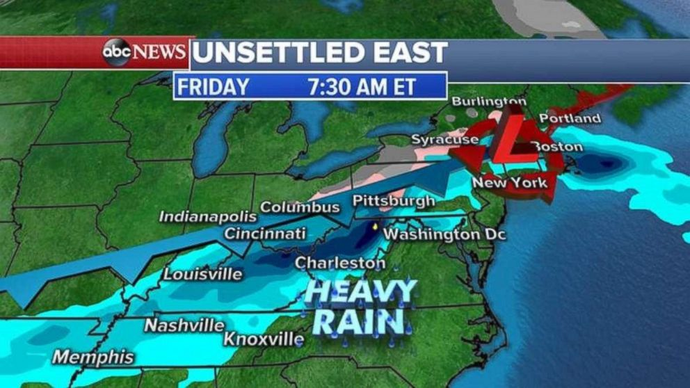 Tonight and tomorrow morning, heavy rain is expected from Tennessee to Maine.