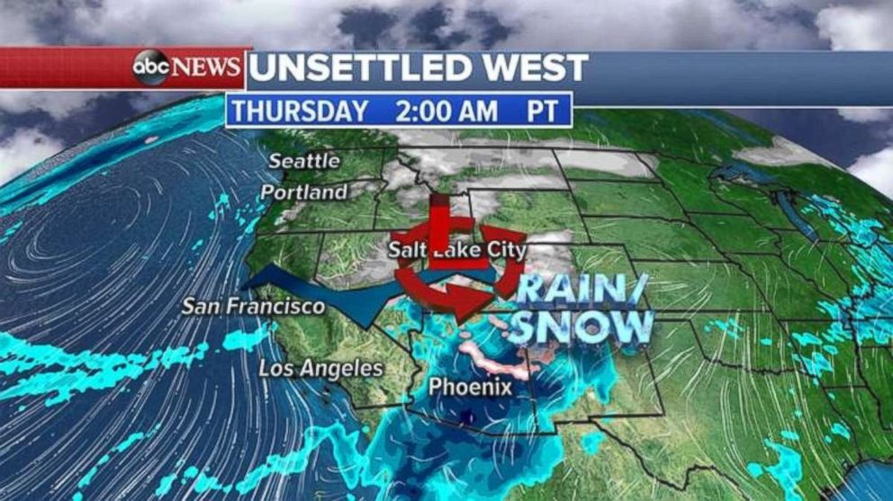 Rain and snow will batter parts of the Southwest early Thursday morning.