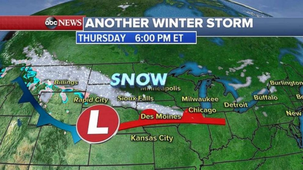 Another winter storm is expected to sweep through the Midwest and into the Northeast to close out the week.