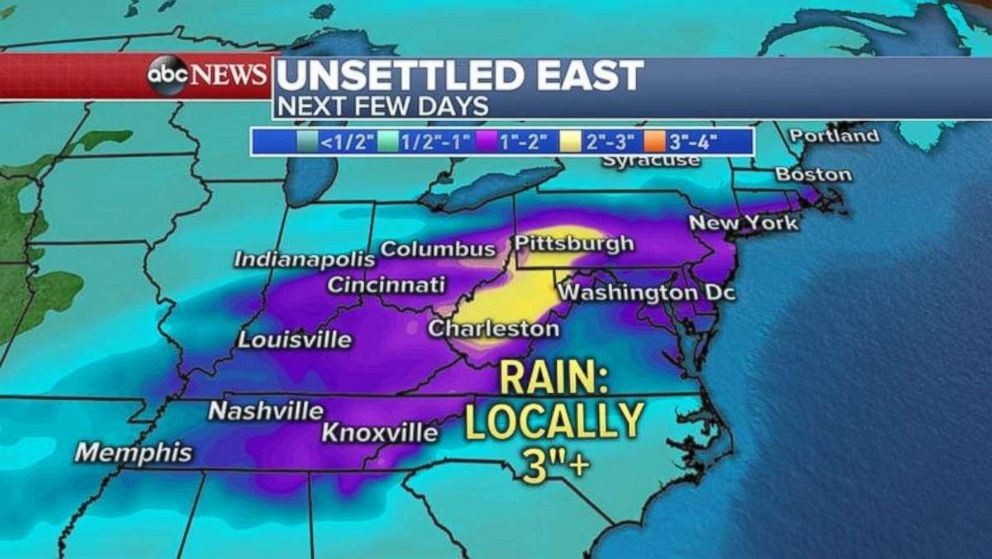 Parts of Appalachia and the Northeast may see heavy rainfall in the coming days.