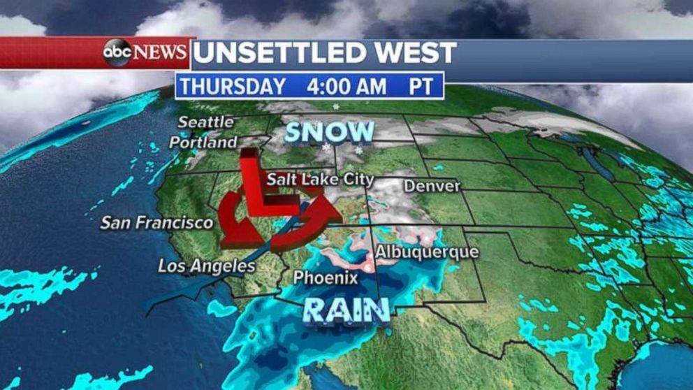 Heavy storm were expected early this morning near the Rockies.