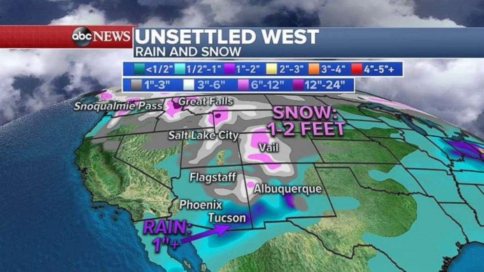 Parts of Colorado may see 2 feet of snow.