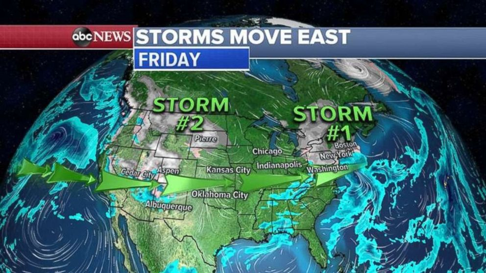 The first of two storms already is making its presence felt on the East Coast.