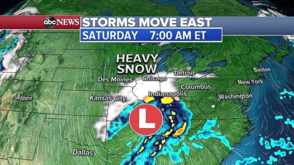 Heavy snow also is expected in the Midwest over the weekend.