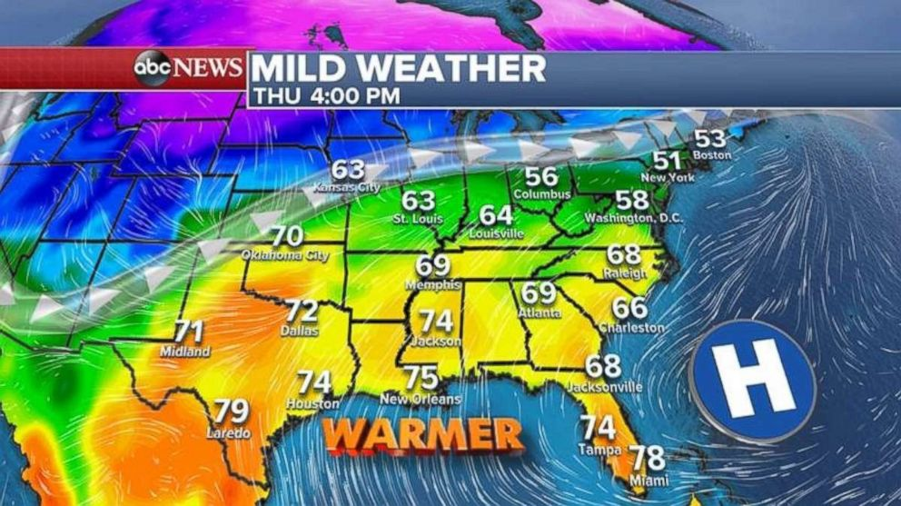 Much of the South and Southeast should see milder weather by Thursday.