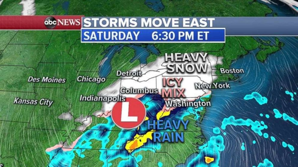 The stronger of the two storms will be approaching the East Coast on Saturday night.