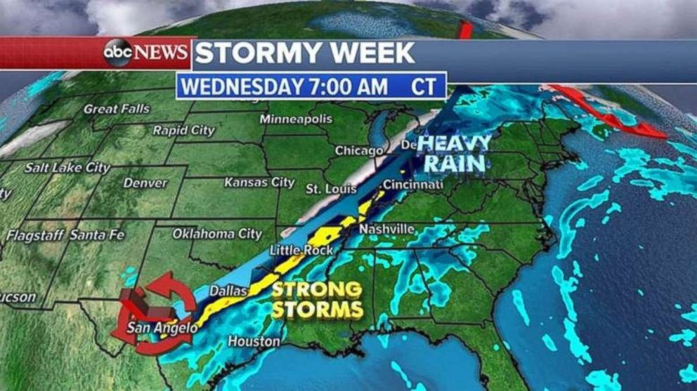 Texas and Arkansas may see 6 inches of rainfall by midweek.
