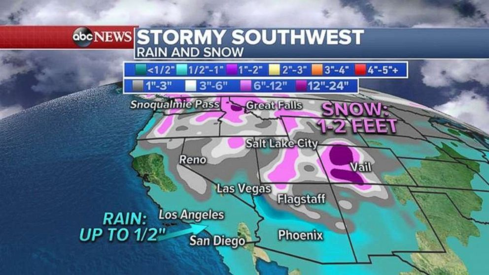 Parts of the Southwest pay see snow.