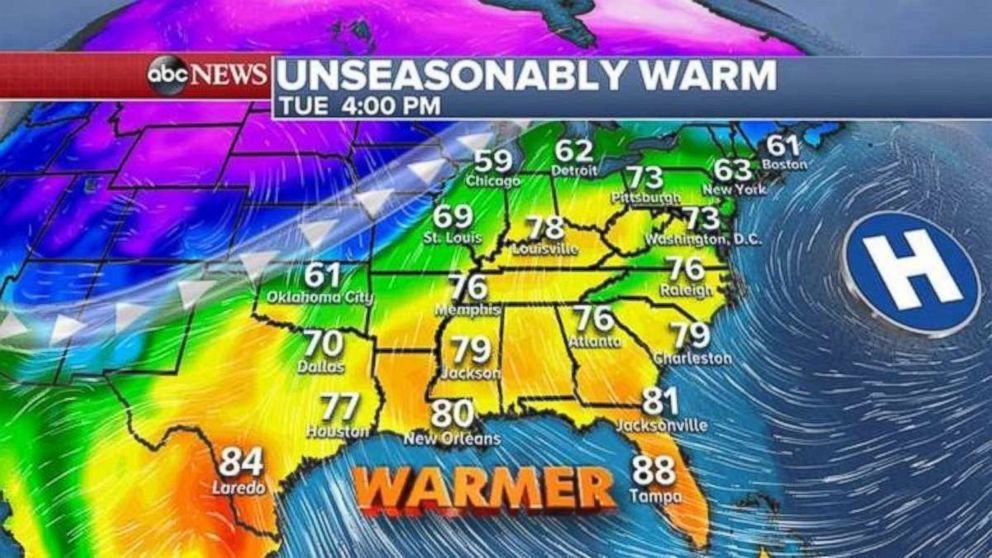 The Southeast will be unseasonably warm on Tuesday.