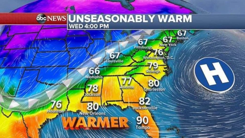 Florida may see record highs on Wednesday.