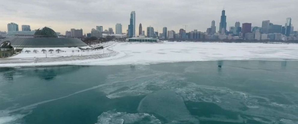 Parts of Lake Michigan near Chicago are still covered in ice after recent storms.