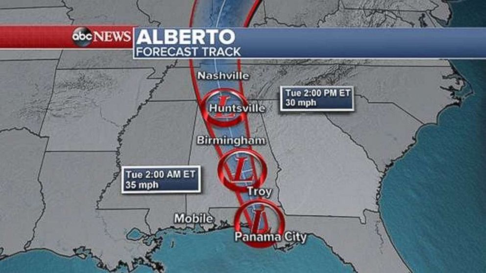 PHOTO: Forecast track for Alberto.