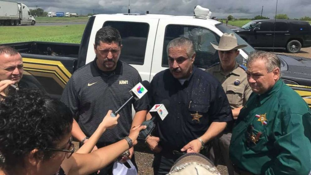 Webb County Sheriff Martin Cuellar briefs reporters following the discovery of a body tied to a string of four murders in two weeks in the area.