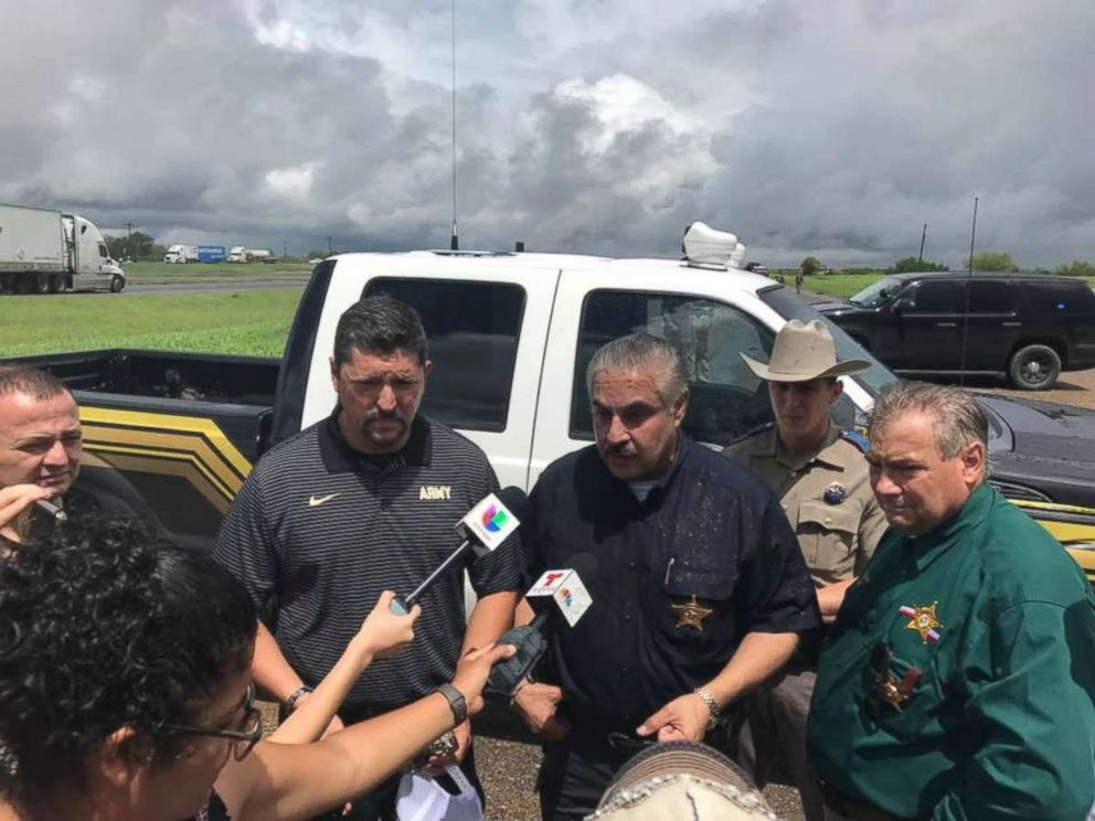 PHOTO: Webb County Sheriff Martin Cuellar briefs reporters following the discovery of a body tied to a string of four murders in two weeks in the area.