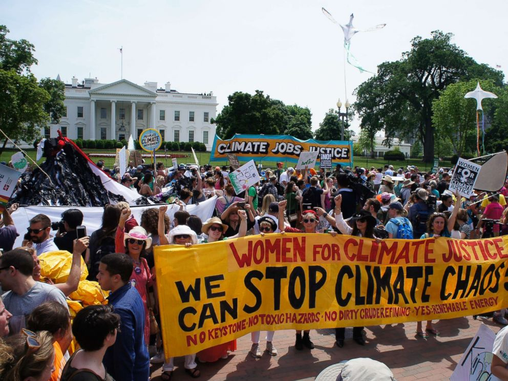 PHOTO: U.S. women take action outside the White House in Washington during the most recent Peoples Climate March.