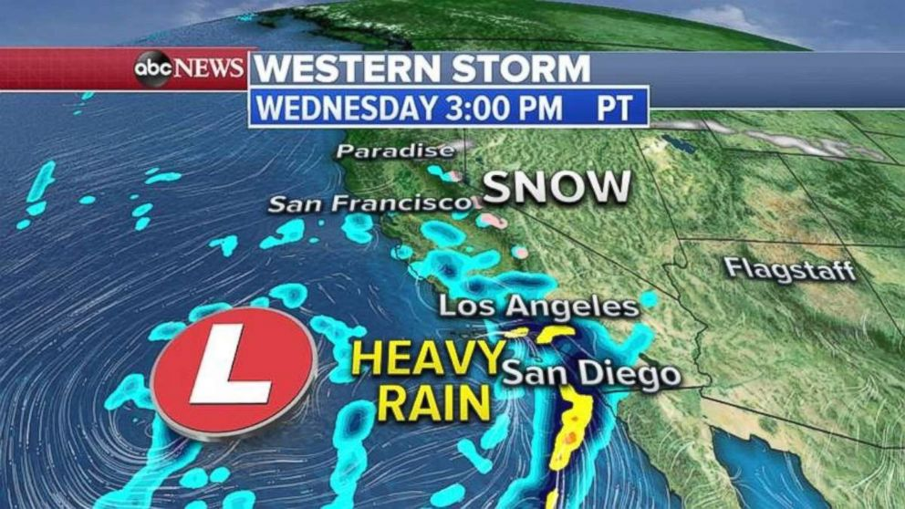 PHOTO: Heavy rain will move into Southern California on Wednesday afternoon.