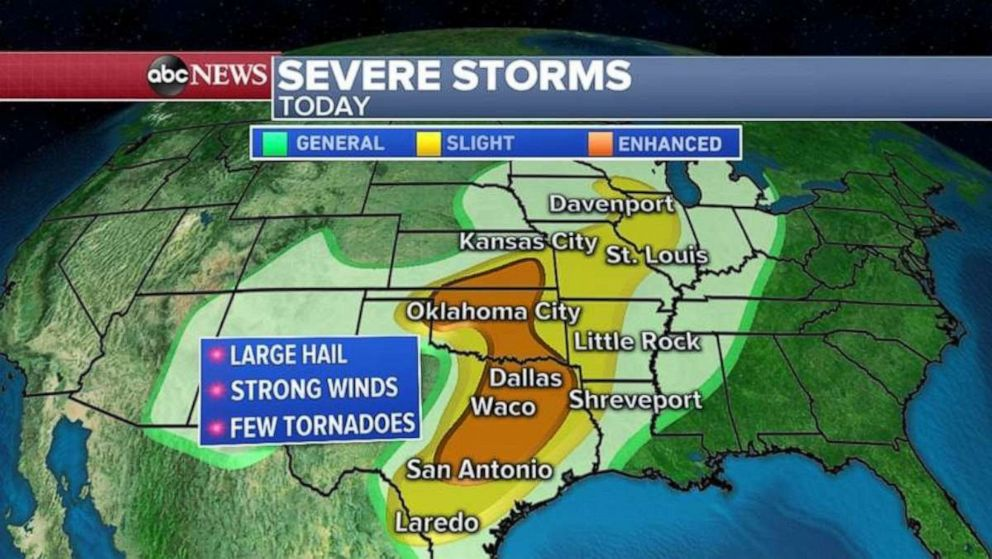 PHOTO: The threat for severe storms stretches from San Antonio all the way north to Oklahoma City and southern Kansas.