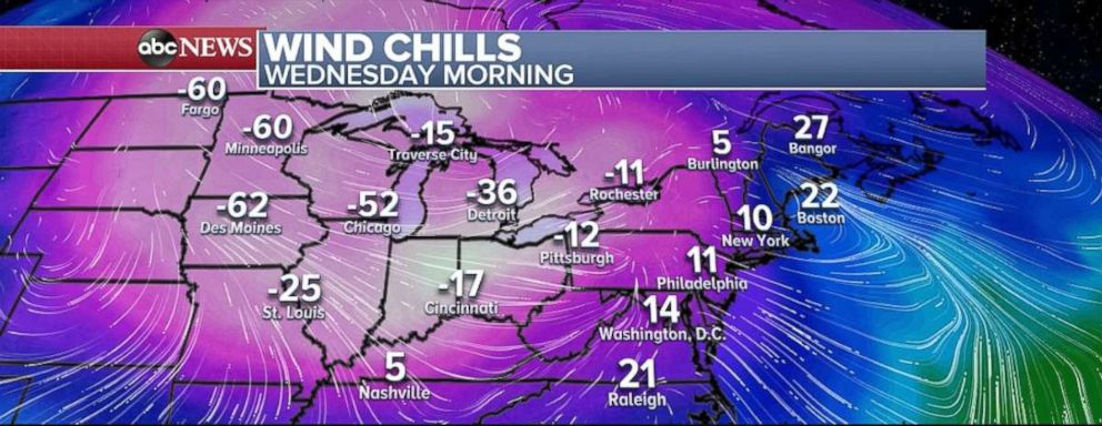 PHOTO: Record-low temperatures are possible on Wednesday in the Northern Plains and Midwest with minus 60 wind chill readings possible in Minneapolis, Minn., and Des Moines, Iowa.