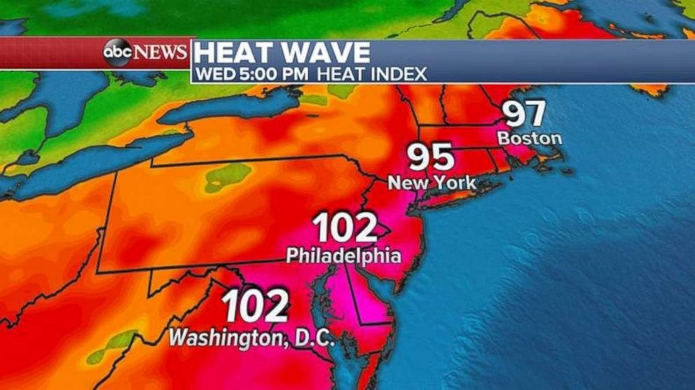 The heat index will be over 100 degrees in Washington and Philadelphia, and the mid to upper 90s in New York and New England on Wednesday.