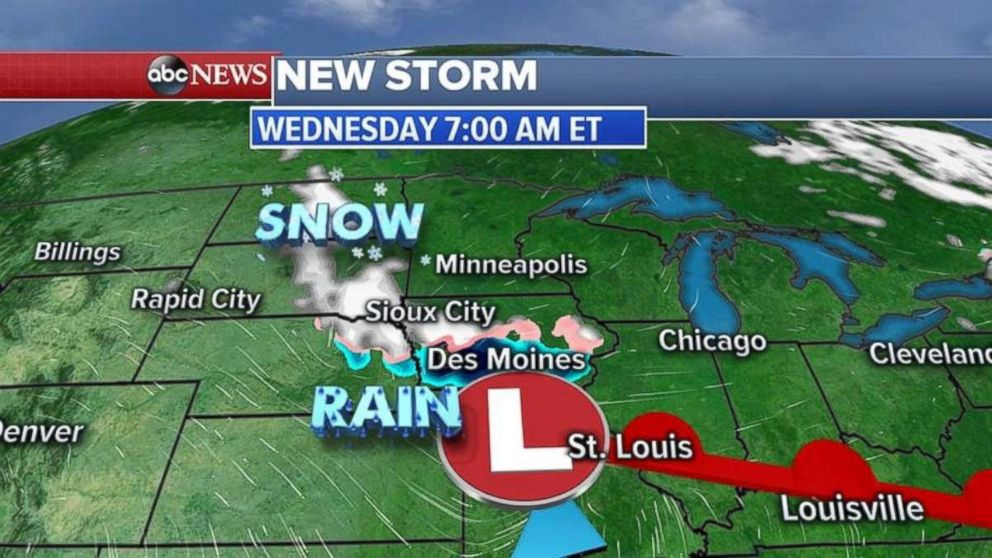The system will move into the Midwest by Wednesday morning