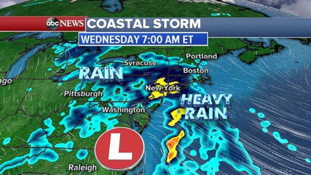 Heavy rain will move into the New York City overnight into Wednesday morning.