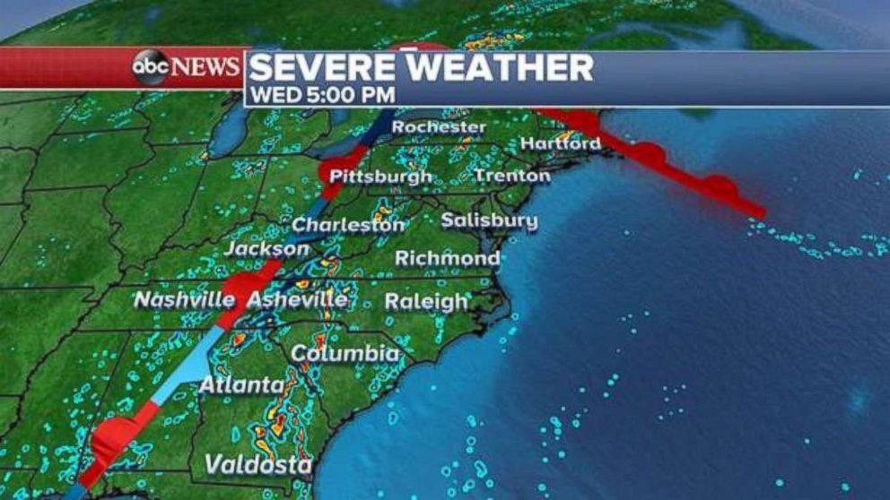 Rain will be widespread across the East Coast on Wednesday afternoon.