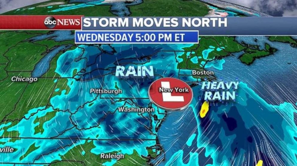 The heaviest rain will move into the Northeast during the day on Wednesday.