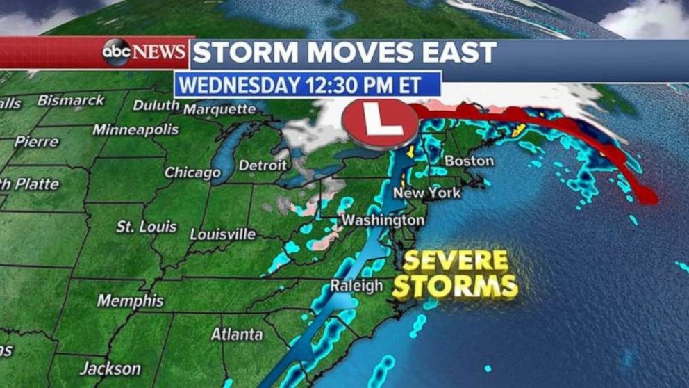 The storm system will extend from Florida to Maine as it approaches the east coast.