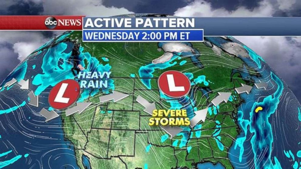 Two storms will being rain to the Northern Plains and Pacific Northwest later this week.