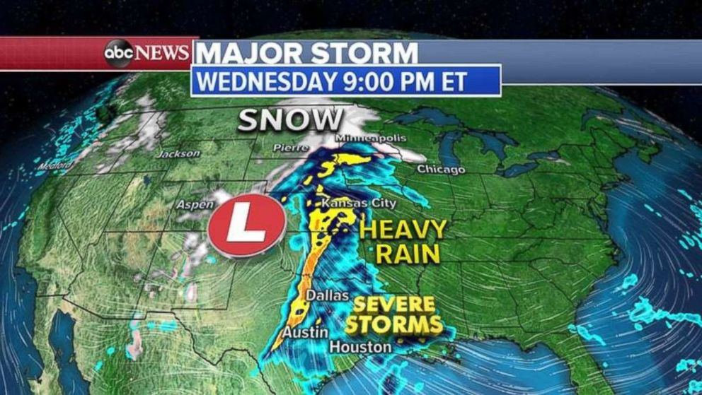 PHOTO: Heavy rain will stretch from central Texas to the Dakotas on Wednesday night.