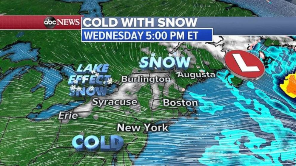 PHOTO: Snow will fall in northern New England and western and northern New York on Wednesday.
